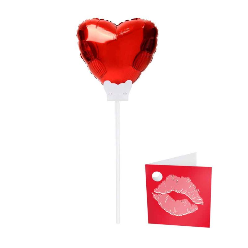 Rood Hartje - mini ballon met kaartje met een kusje -  6 Inch/15cm