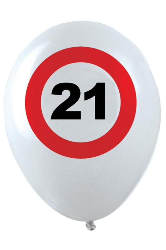 21- cijfer- verkeersbord  - latex ballon - 11 inch/27,5cm - 6 st.