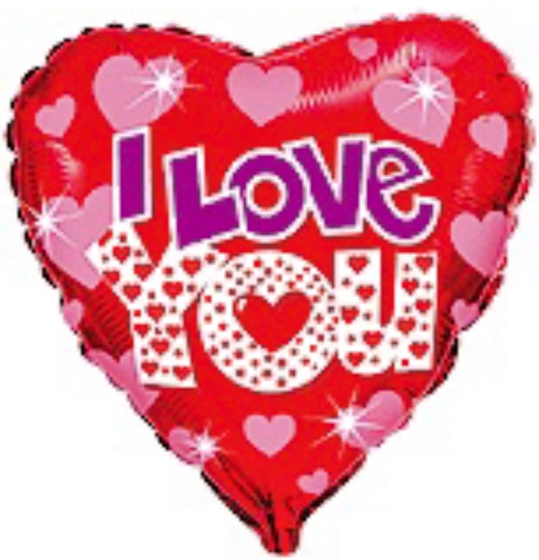 I Love You - Rood - Hart Folie Ballon - 18 Inch - 45 cm