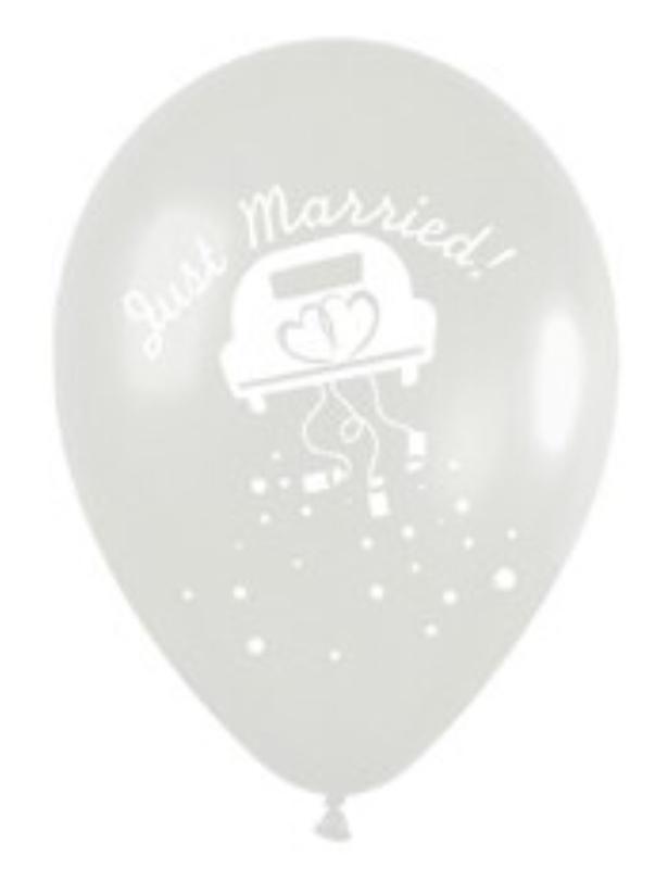Just Married -  Bruids  Auto / Wedding Car - Transparant - Latex Ballon - 12 inch/ 30 cm