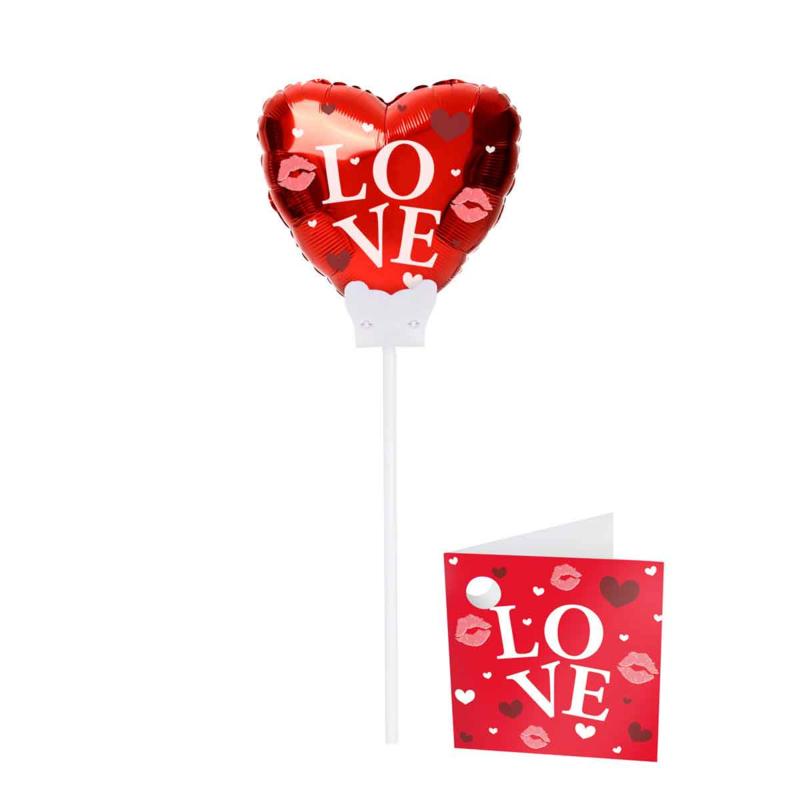 Love - Rood Hart - Mini Folie Ballon - met kaartje - 6 Inch/15cm