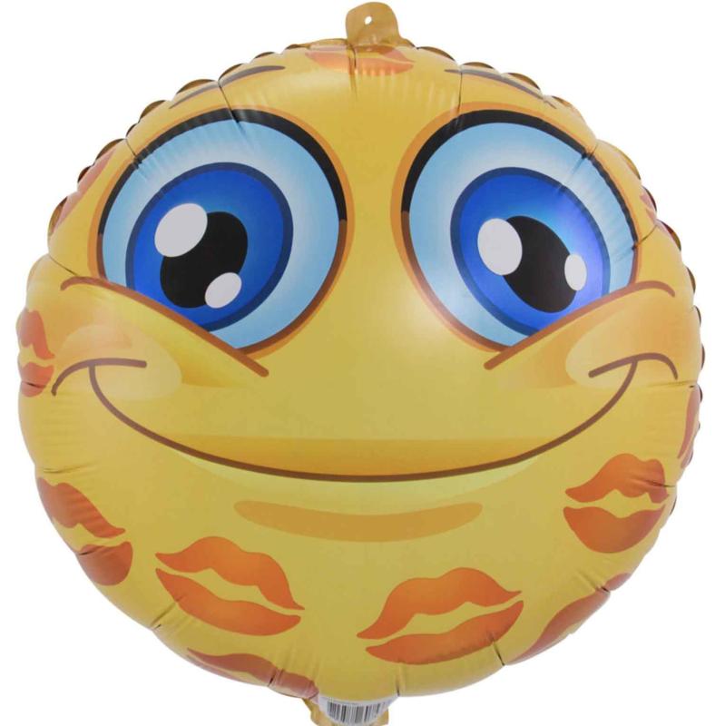 Emoticon - Emoji - Kusjes - Folie Ballon 18 Inch. /46cm