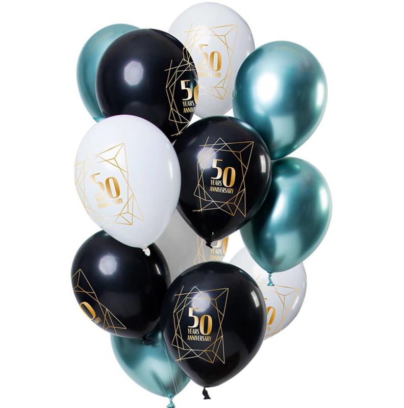 50 jaar Getrouwd  / Jubileum - Wit, Zwart, Groen- Latex Ballonnen - 12 inch/ 30 cm - 12 st.
