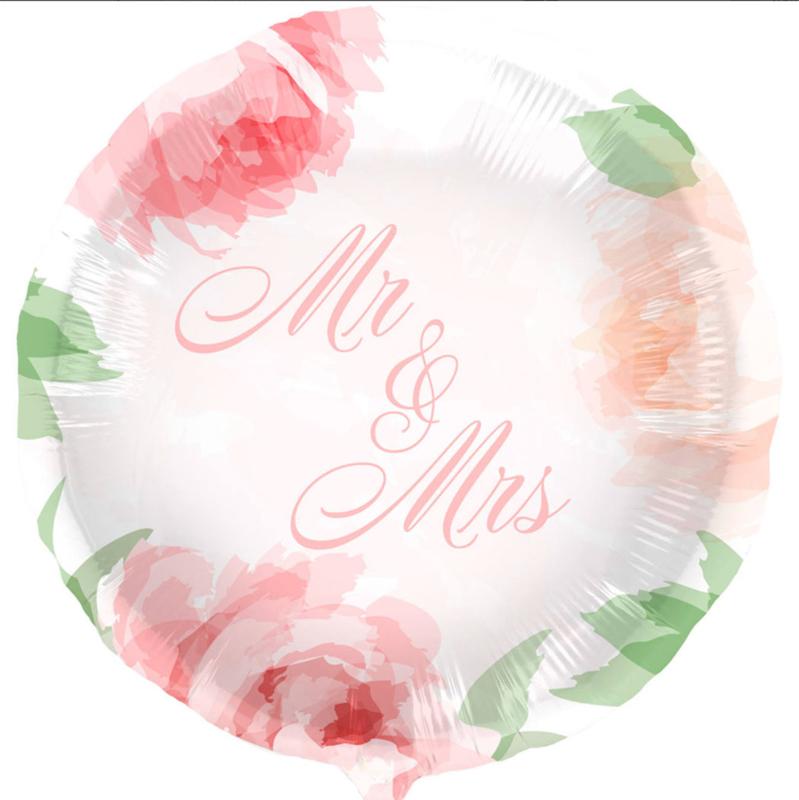 Mr & Mrs - Zacht gekleurde bloemen Ballon - 18 Inch/45cm