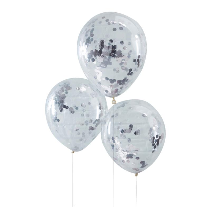 Confetti Latex Ballon - Zilver - 12 Inch/ 30 cm -5 st.
