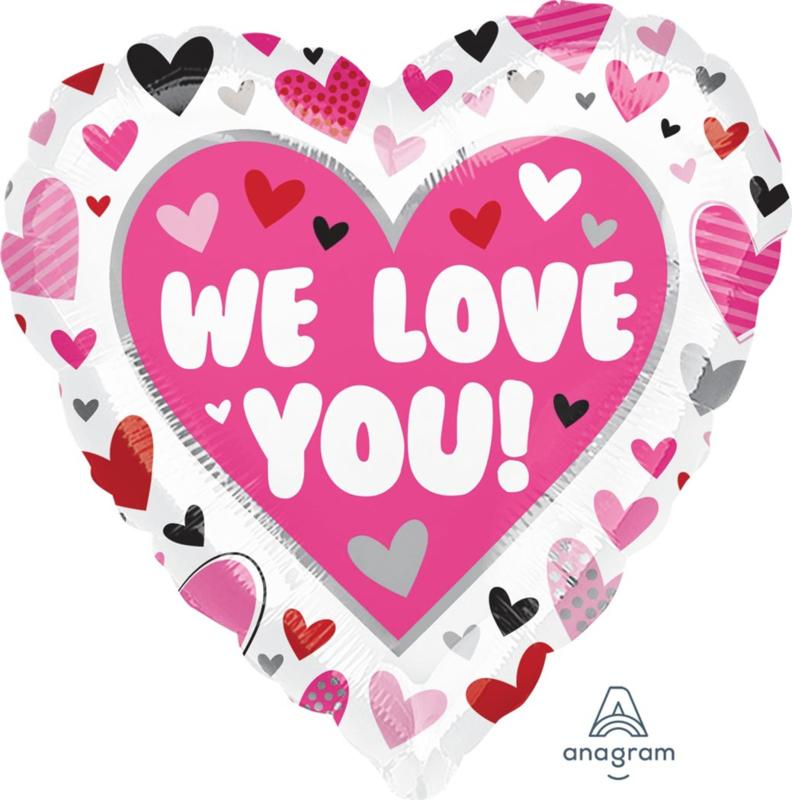 We Love You! - Folie Hart Ballon - 17 Inch/ 43 cm