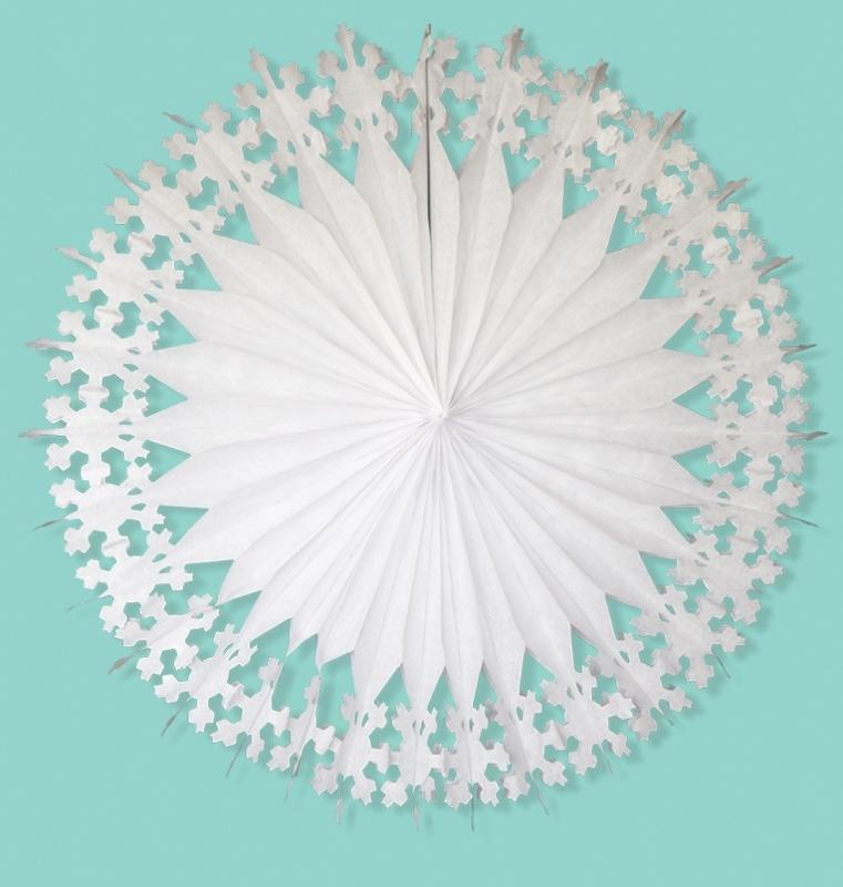 A Little Lovely Company -  XL SnowFlake /  XL Papieren Waaier - Wit -76 cm / 1st.
