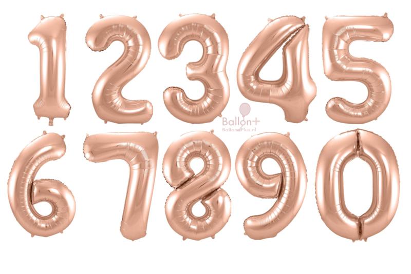 Cijfers - 1, 2, 3, 4, 5, 6, 7, 8, 9, 0 - Rose Goud - XXL Folie Ballon - Nummer - 34inch./86cm