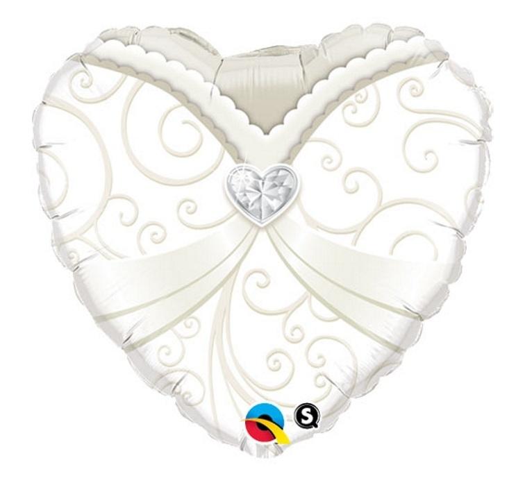Bruidsjurk - hart-folie Ballon - 18 inch/45cm