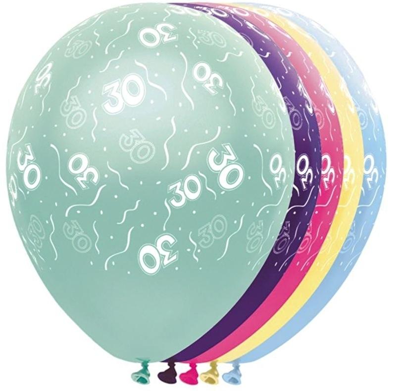 30 - Nummer - div. kleuren - latex ballon - 11 Inch. / 27,5 cm