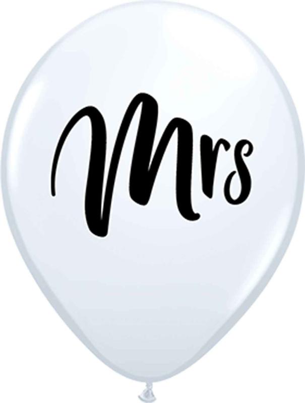 Mrs - Zwarte tekst - Latex Ballon - Wit- 11 Inch / 27,5 cm - 5 st.