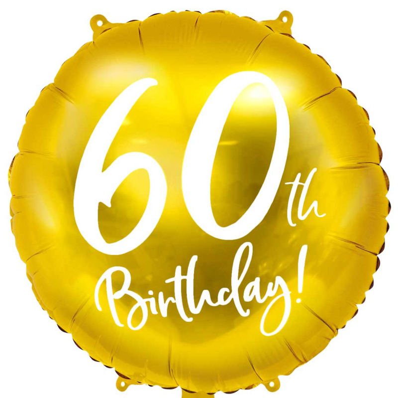 60th Birthday! - Gouden  Ballon - 18 inch/ 45 cm