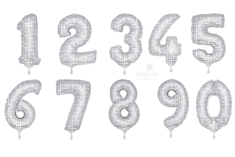 Cijfer - 1, 2, 3, 4, 5, 6, 7, 8, 9, ,0 - Zilver met Witte Stippen - XXL Folie Ballon - Nummer - 34inch./86cm