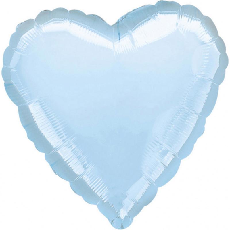 Hart -  Baby Blauw - Folie Ballon - 18 Inch / 45 cm