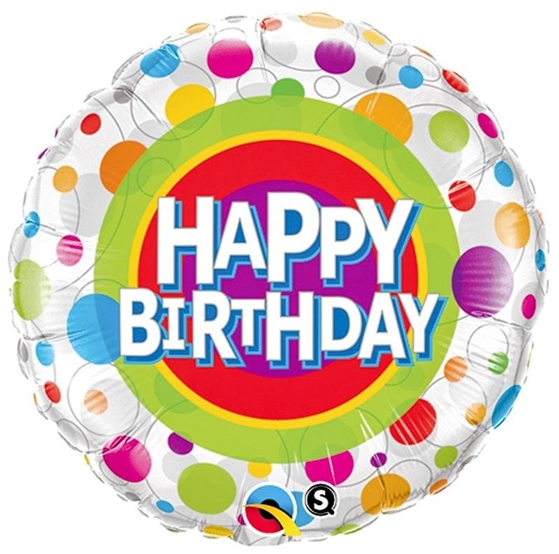 Happy Birthday -Stippen div. Kleuren  -Folie Ballon -  18 inch/45cm