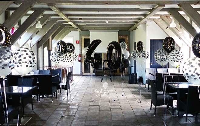 aankleding van een feest met ballonnen grote helium cijfer ballonnen en confetti ballonnen