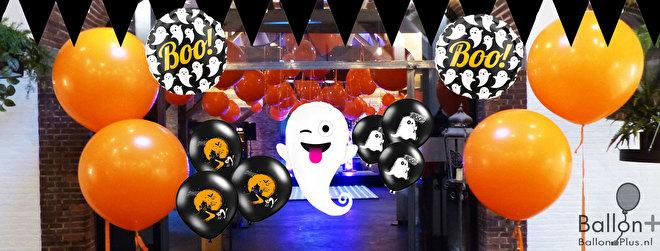 Halloween decoratie, ballonnen, slingers, spookjes, vleermuizen, zwarte katten