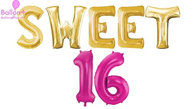 sweet 16 aankleding met ballonnen en versiering van ballonplus.nl