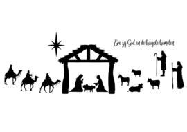 Kerststal - raamsticker
