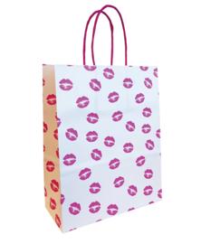 witte papieren tasje met kussende mondjes  - kiss me tender