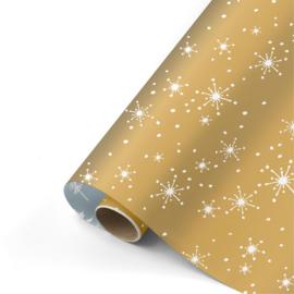 Dubbelzijdig inpakpapier reach for the stars goud/wit/ijsblauw 50 x 300 cm