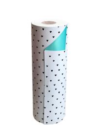 Inpakpapier dubbelzijdig; wit met zwarte hartjes en mintkleurige achterzijde