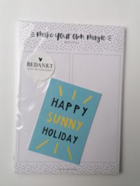 Cadeauset happy sunny holiday (notitieblok & kaartje)