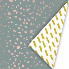 Cadeaupapier terrazzo wax/oudroze/oker inpakpapier