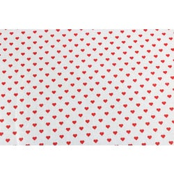Vloeipapier, wit met rode hartjes