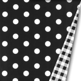 Inpakpapier dubbelzijdig; Dots Black/Vichy Black