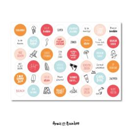 Stickervel strand,  48 ronde (sluit)stickers