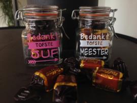 Gevuld potje met toffees voor de tofste juf / meester (DL)