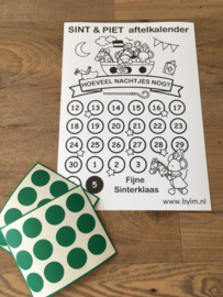Sint & Piet aftelkalender met stickers