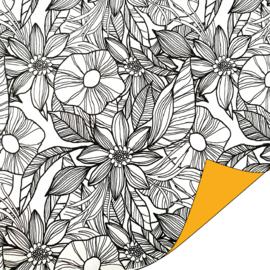 Inpakpapier dubbelzijdig; wit met zwarte bloemen en okergele achterzijde