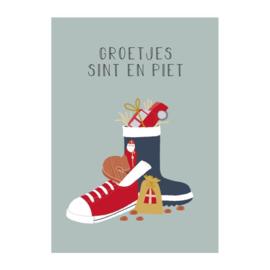 Ansichtkaart schoen zetten , groetjes Sint en Piet
