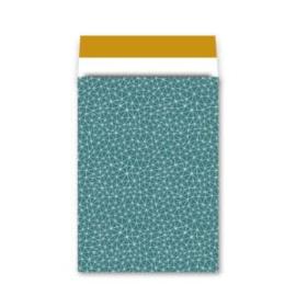 cadeauzak petrol/okergeel  26x36 cm (XL)