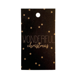 cadeaukaartje zwart wonderful christmas
