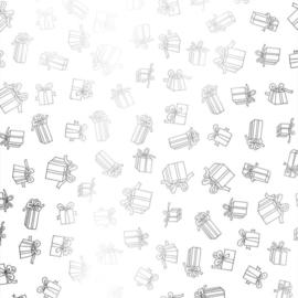 Inpakpapier wit met metallic  cadeautjes, kadootjes