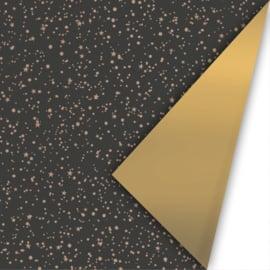 Dubbelzijdig inpakpapier twinkling stars  zwart/rose goud
