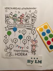 Aftelkalender tot de verjaardag met stickers