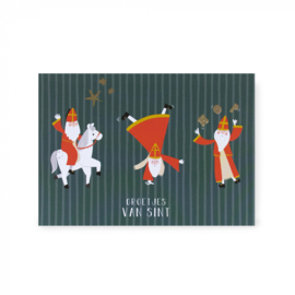 Ansichtkaart  acrobaat Sint, groetjes van Sint en Piet