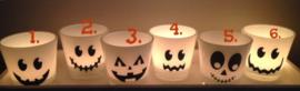Waxinelichtje houder met Halloween /pompoen gezicht