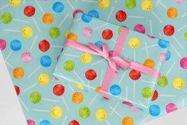 Inpakpapier mint met lolly's 50x70 cm