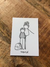 Minikaartje dankjewel juf / dankjewel meester