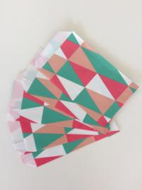 cadeauzakje  vrolijk gekleurd patroon 10x15 cm (S)