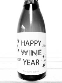 zelfklevend wijnetiket  happy wine year  Mama Drinkt Wijn