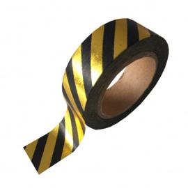 Washi tape goud & zwart gestreept washitape