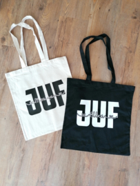 Katoenen tas JUF met naam erin