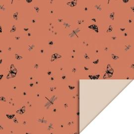 Cadeaupapier vlinders en insecten 70x 300 cm