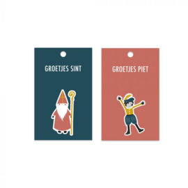 Set van twee cadeaukaartjes , groetjes Sint en groetjes Piet